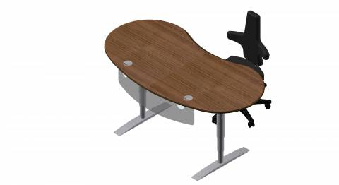 Steh-Sitz Schreibtisch: Joker Rund in Furnier