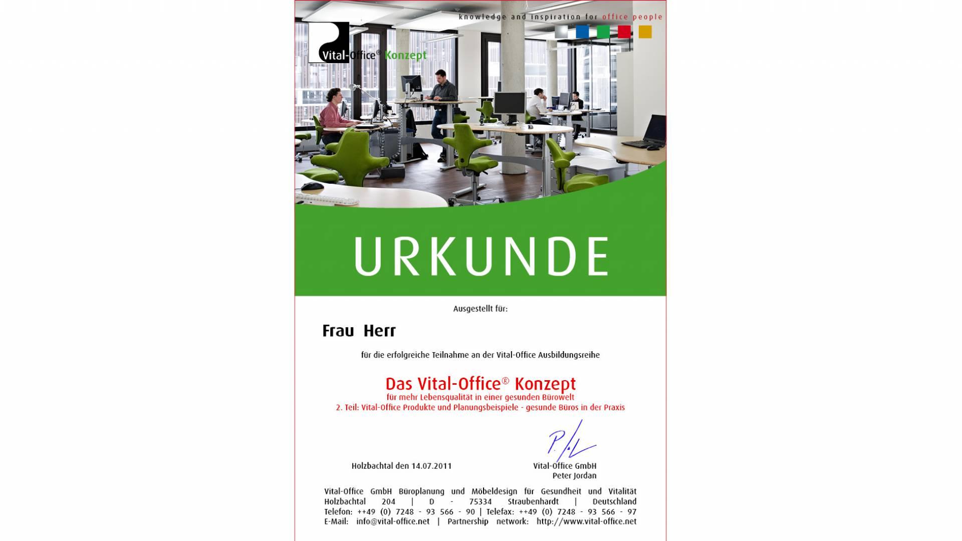 """30.09.2011 - Ausbildungsreihe:  2.  """"Die Vital-Office Produkte und Planungsbeispiele"""" .. gesunde Büros in der Praxis"""