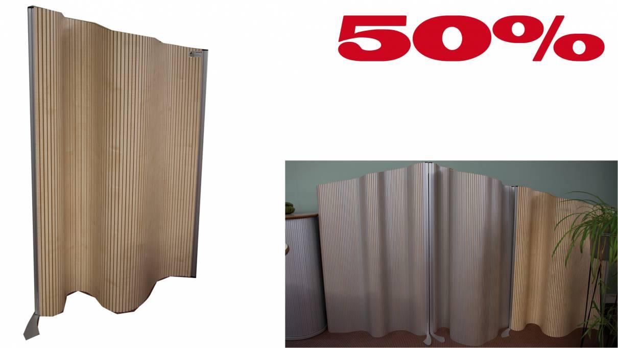 Flexible Stellwand Flexiscreen, laminiert 1200x1200-1400mm / Ahorn