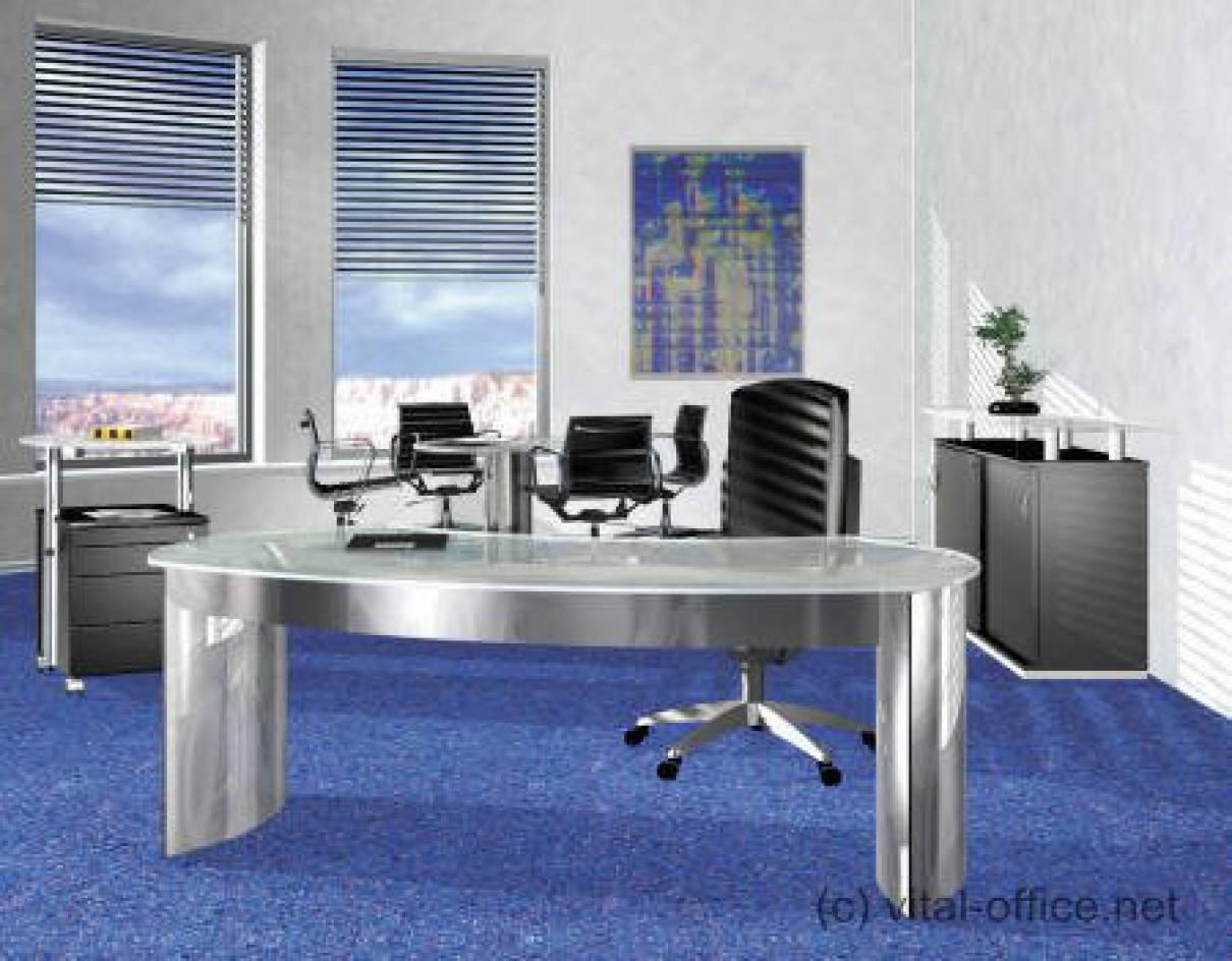 circon 行政经典-办公桌-玻璃和不锈钢