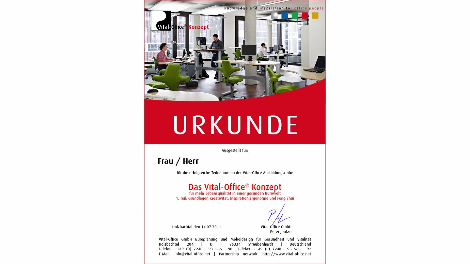 """14.07.2011 - Ausbildungsreihe:  1. """"Das Vital-Office Konzept"""" .. für mehr Lebensqualität in einer gesunden Bürowelt."""