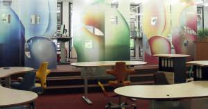 New ways of sound absorption through transparent painted acoustic-panel-blinds