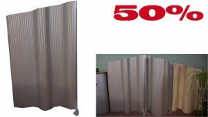 Flexible Stellwand Flexiscreen, laminiert 1200x1400-1600mm / Alu