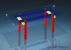 circon 行政玻璃经典-办公桌-红色黄色蓝色表